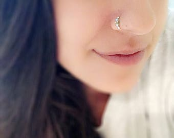 3135a08d8 Swarovski crystal Indian nose ring. Septum. Handmade. Gift. Women. Jewelry.  Gold. Nose hoop. Bohemian.Stone. Statement Ring. Nose ring hoop
