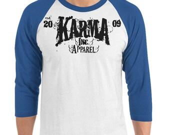 fcb7db94 Unisex, Karma Inc Apparel Logo, 3/4 Sleeve Baseball Raglan Shirt, Dark  Sleeves, Light Body 3 Quarter Tee, Karma Clothing for Charity, Rocker