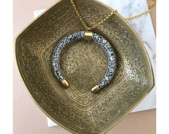 The Ellis - Speckled horn necklace