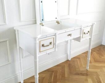 Custom Painted Vintage Bamboo Vanity or desk  (Henry Link)