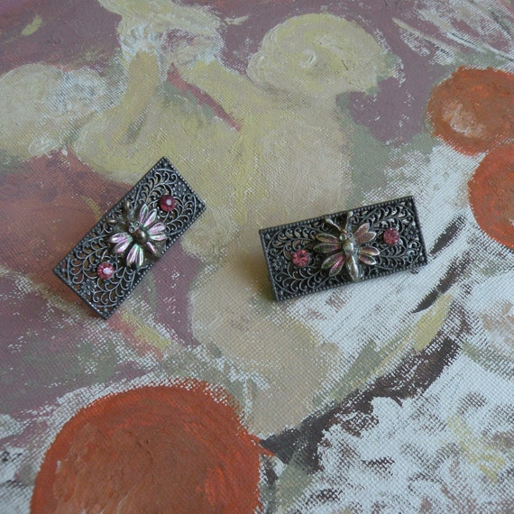 FRENCH MOTH Shoe Clips VINTAGE Mid-Century France