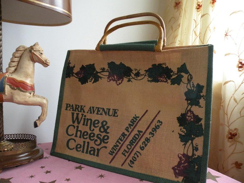 Eco-Market Bag Cheese Cellar Retro Florida Wine Connoisseur Gift WINE /& RATTAN Burlap Tote VINTAGE 1970/'s Park Avenue Wine 16