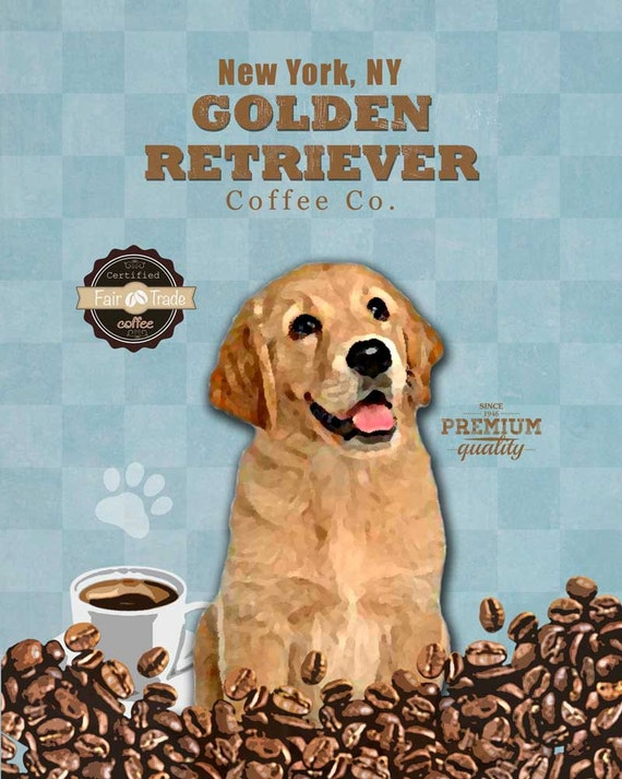 Golden Retriever Coffee Company Vintage Dog Poster Pet Love Etsy
