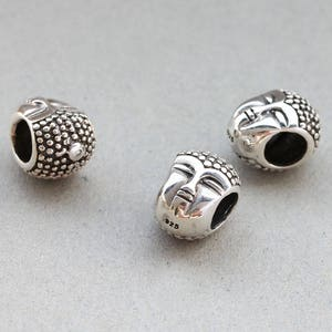 Yoga Bead Wholesale silver findings. Rhodium Plated Prayer Bead Pack of 5 pieces OM Silver Bead 7 mm. 92.5 Sterling Silver