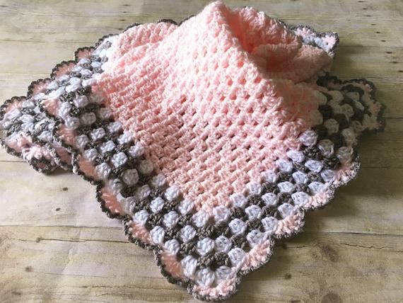 Pink Grey Baby Blanket Pink Baby Blanket Crochet Baby Etsy
