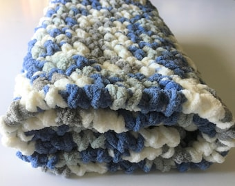 Blue Baby Blanket, Crochet Baby Blanket, Photography Prop, Baby Boy Blanket, Baby Shower Gift, Stroller Blanket, Ready to Ship Free Shipping