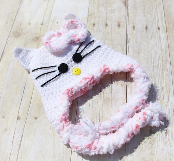 Hello Kitty Crochet Hat Hello Kitty Hat Baby Crochet Hat Etsy