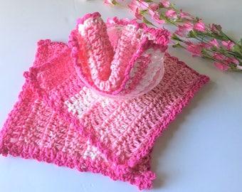 Dishcloth, Washcloth, Pink White, Handmade Crochet, Kitchen Crochet Pink Crochet, Cotton Dishcloth, Shabby Chic, Christmas Gift Gift for her