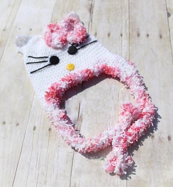 Hello Kitty Crochet Hat Babygirl Hat Baby Crochet Hat Etsy