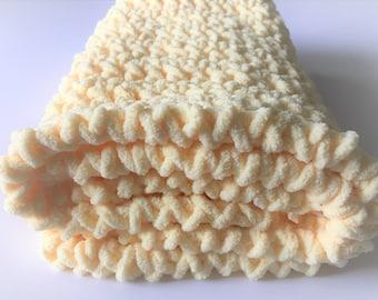 Yellow Baby Blanket, Crochet Baby Blanket, Travel Blanket, Photo Prop, Car Seat Blanket, Gender Neutral, Free Shipping, Stroller Blanket