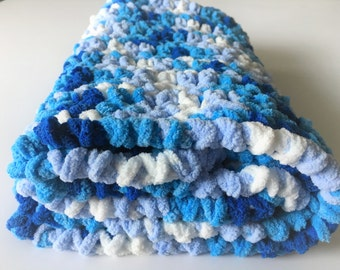 Blue Baby Blanket, Crochet Baby Blanket, Travel Blanket, Stroller Blanket, Baby Photo Prop, Free shipping, Ready to Ship, Baby Shower Gift