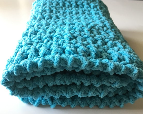 Aqua Baby Blanket Crochet Baby Blanket Car Seat Blanket Etsy