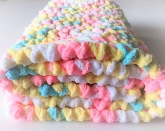 Pastels Baby Blanket, Crochet Baby Blanket, Security Blanket, Photo Prop, Handmade Blanket, Car Seat Blanket, Gender Neutral, Free Shipping