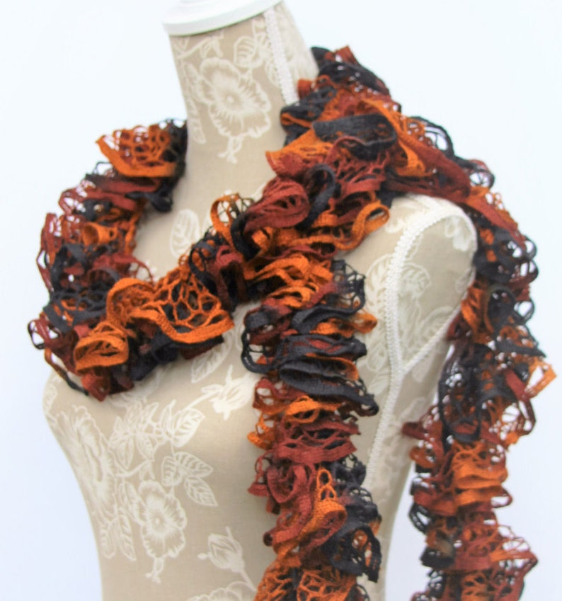 Black Brown Crochet Scarf Crochet Ruffle Scarf Ready To Etsy