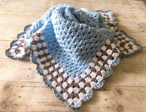 Blau grau Babydecke Decke Blau-Baby-Decke häkeln Afghane