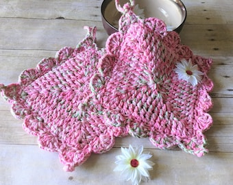 Kitchen Pot Holders, Crochet Pot Holder, Pink Pot Holders, Kitchen Decor, Shabby Chic, Pot Holders, Hostess Gift, Thick Pot Holders Hot Pad