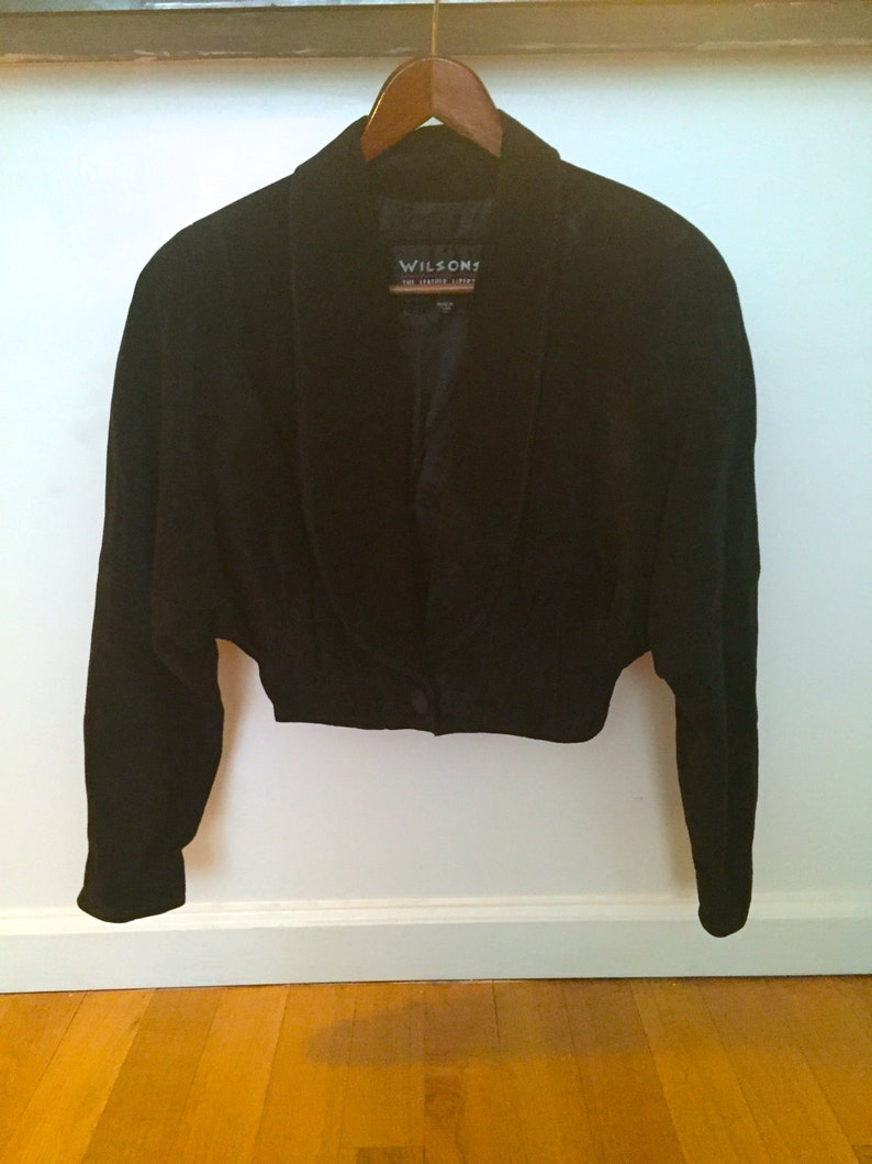 Vintage 90's Black Suede Cropped Jacket by WILSON LEATHER image 0