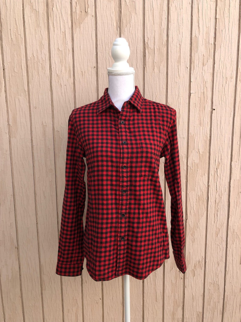 Buffalo Plaid Black & Red Flannel Button Down Shirt image 0