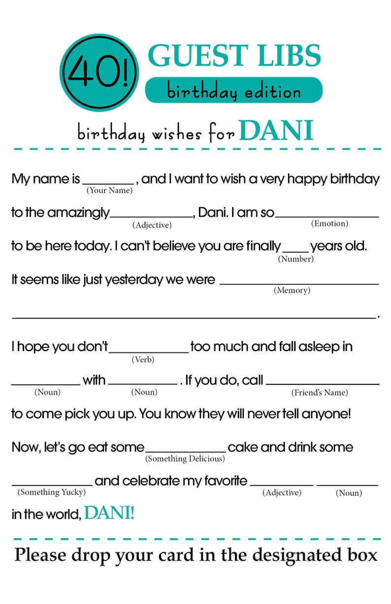 photograph about Birthday Mad Libs Printable named BIRTHDAY Outrageous LIBS