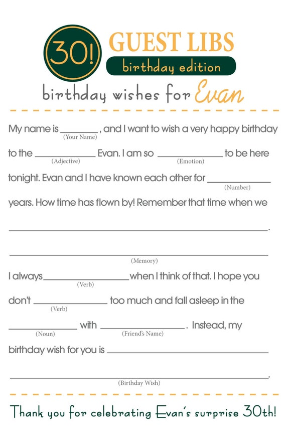 It is a picture of Happy Birthday Mad Libs Printable for once upon time