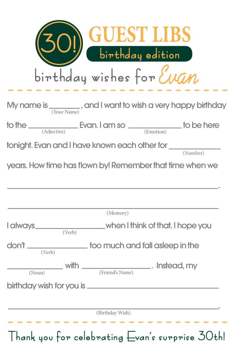 photo regarding Happy Birthday Mad Libs Printable named Birthday Outrageous Libs