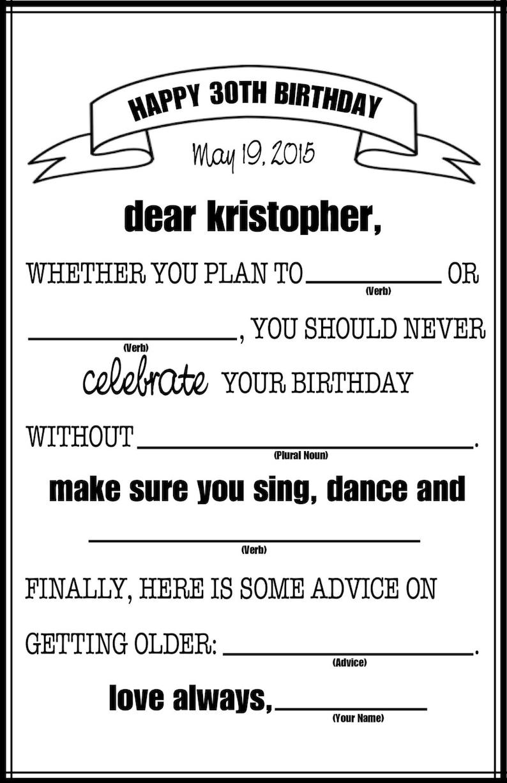 graphic regarding Birthday Mad Libs Printable identify Birthday Outrageous Libs