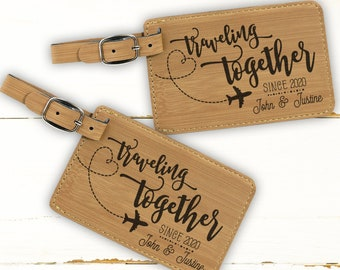 Hers Luggage Tags Honeymoon Gifts for Girlfriend Fiancee Wife Couples Laser Engraved Leatherette Luggage Tags in Black or Brown P-L-LGT-0009