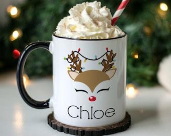funny christmas mug, secret santa gift, reindeer mug, personalized hot chocolate mugs