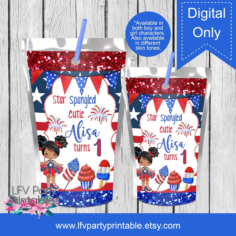 July 4th  Birthday Party -Party Bubbles July 4th Juice Labels- 4th of July Red White and Blue Digital -Printable Capri Sun