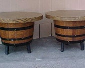 vintage pair of  rustic mid century modern half barrel wine barrel whiskey barrel end tables side tables 1960's retro cabin lake house decor
