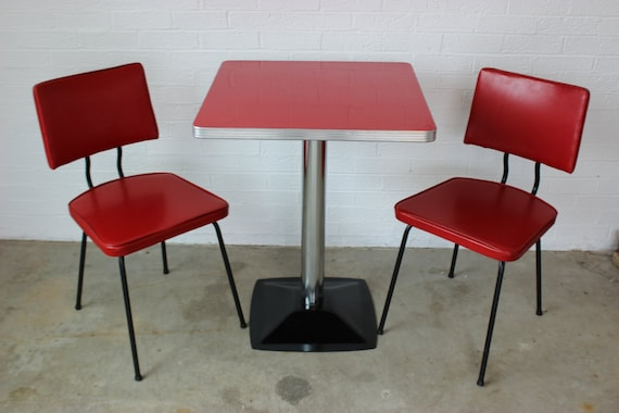 Red Vintage 1950 S S Formica Diner Style Table And 2 Etsy