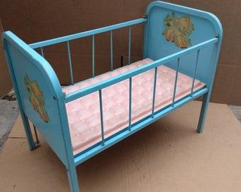 vintage metal 1950's baby doll crib amsco doll-e-crib blue doll crib  baby doll display crib.
