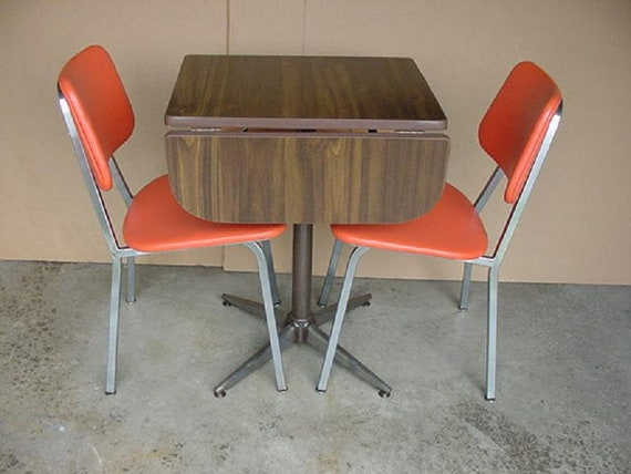 Vintage Mid Century Moderm Formica Kitchen Table And Two Etsy