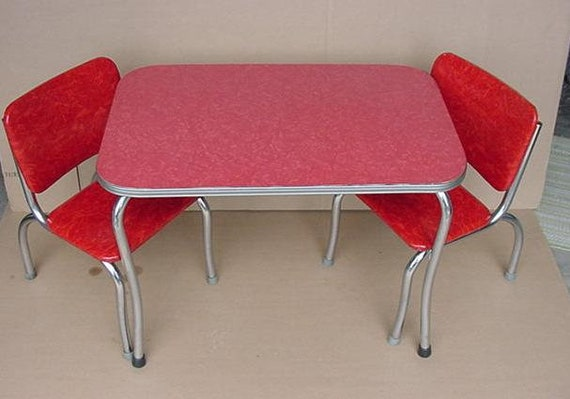 Vintage 1950 S Childs Kids Red Formica Table And Chairs Etsy