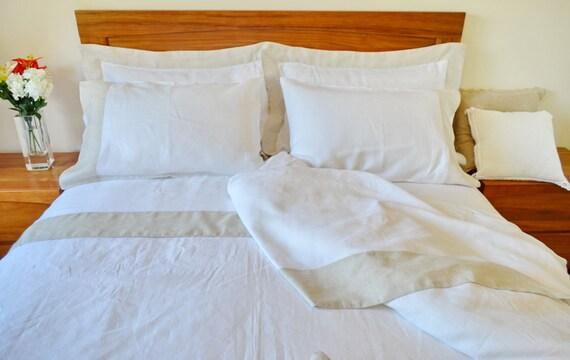 Queen King Size Bed Ensemble De Draps Drap Plat Et Taies Etsy