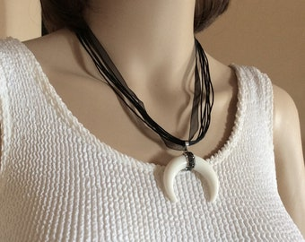 Horns necklace. Black and white necklace, ribbons necklace,