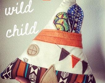 Teepee Pillow, tee pee pillow, Tipi pillow, Wild child be brave, Nursery decor - kids pillow