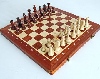 Hand Painted Polish Folk Art Wooden Chess set 3 colours to choose from