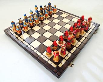 Hand Painted Polish Folk Art Wooden Chess Set