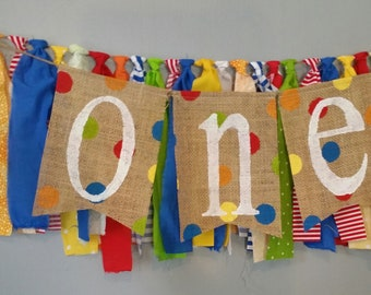 Circus High Chair Banner First Birthday Boy Baby 1st Carnival Decor Decorations