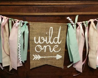 One Banner Girl Baby First Wild 1st Birthday Decorations Decor High Chair Skirt Tutu Sign