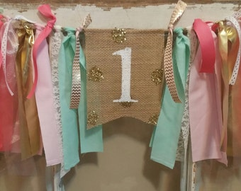 Coral Mint Banner, Coral Gold Party Decor, Glam Birthday, Mint Coral Birthday, Mint Coral Garland, Coral Gold Party