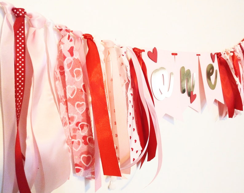 Heart Themed Baby Girl Birthday Decorations Sweet One 1 Year Garland Sweetheart Banner Valentines Banner Valentine Day Birthday