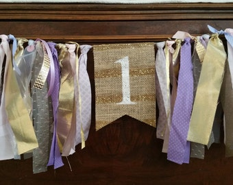 Purple Pink High Chair Banner, Purple Birthday Banner, Purple Birthday Decor, Gold Purple Birthday, Pink Purple Party Decorations