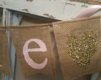 Pink Gold Baby Shower, Baby Shower Girl, Baby Shower Decor, Name Banner, Personalized Banner, Baby Name Banner, Custom Banner, Burlap Banner