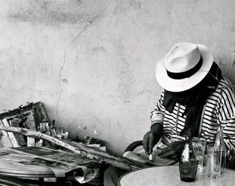 "Fine Art Print ""The Painter"" Black & White Wall Art, Provence Portrait Series"