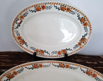 Two platters - earthenware of Saint Amand - model corbeil - french vintage