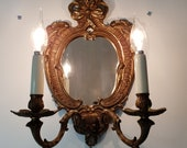 Antique french elegant Bronze wall lights sconce candelabra with 2 branches and mirror Paris apartment art nouveau