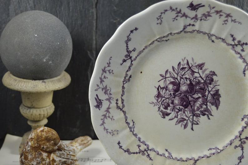 Lovely Vintage French purple violine flowers birds medlars  small round platter dish terre de fer