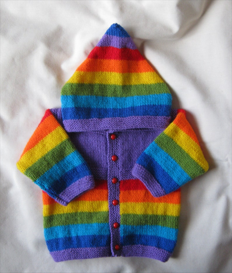 349136a88 Hand knitted violet purple rainbow striped hooded jacket for